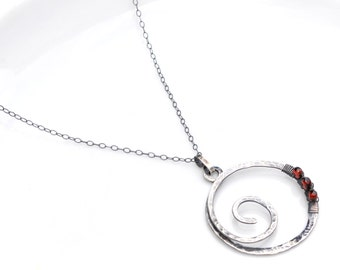 Oxidized Silver Spiral Necklace, Red Garnet Spiral Pendant Necklace, Textured Silver Spiral, Garnet Necklace