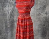 SOLD IN STORE 4/14 1950s Red Geometric Dot Dress
