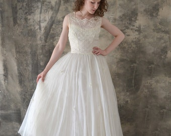 1950s Wedding Gown  with Tulle and Embroidery