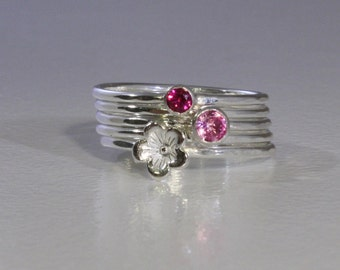 Stacking Rings Ruby and Pink Tourmaline with a Sterling Silver Cherry Blossom, Custom made, Mothers ring set