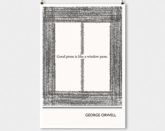 "Literary Art Print, "" George Orwell"" Large Wall Art Posters, Literary Quote Poster, Illustration, Black and White Art, Literary Gift"