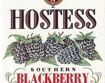 Vintage Hostess Blackberry Wine Label, 1950s