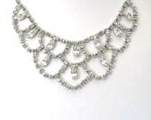 Vintage Rhinestone Festoon Necklace, 1950s Bridal Necklace, Fairy Tale Wedding