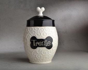 Dog Treat Jar Made To Order Black & White Curls Dog Treat Jar by Symmetrical Pottery