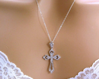Christian Necklace, Sterling Silver Cross Necklace, Religious Bridal Jewelry, Confirmation Necklace, Religious Jewelry, Cross Pendant