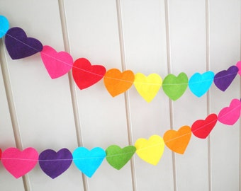 Rainbow Heart Garland - made with wool blend felt in colourful and bright shades, perfect for kids room or birthday