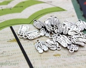 15pc Flip Flop Charms, Made with Heart & Sole Charms, Handmade with Love, 19x9mm