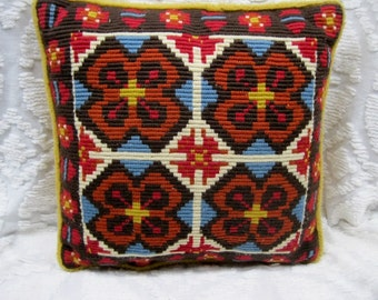 Vintage Symmetrical Tapestry Butterfly Design Throw Pillow Red