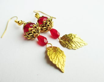 Gold Filigree Leaf & Red Czech Glass Dangle Earrings, Gifts For Her