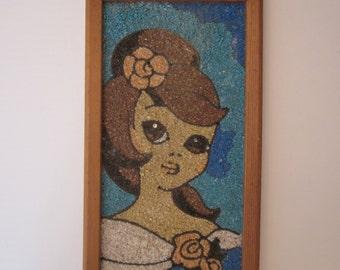 Sixties Mod Gravel Mosaic Art - Flower Child Framed Wall Decor