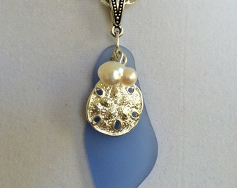 Sea Glass, Sand Dollar and Pearl Necklace