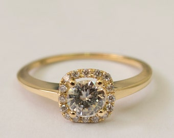 Engagement Ring Halo Ring - 14K Gold and Diamond engagement ring,Halo Ring, engagement ring, wedding band, crown ring, art deco, edwardian,