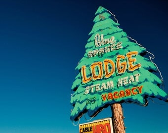Blue Spruce Lodge Neon Motel Sign Print | Route 66 Decor