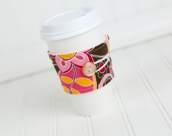 Coffee Sleeve Pink Orange and Brown Floral for Women Girls Gals, Stocking Stuffer Gift Idea
