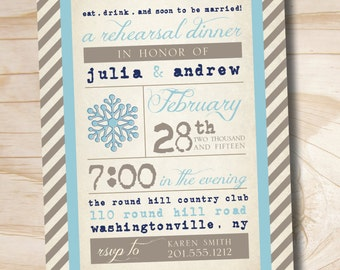 VINTAGE POSTER Snowflake Engagement/Rehersal Dinner Party Invitation - Printable digital file or printed invitations