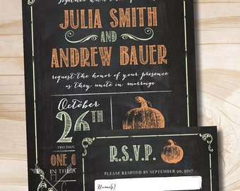 VINTAGE BLACKBOARD PUMPKIN Chalkboard Poster Wedding Invitation and Response Card Invitation Suite