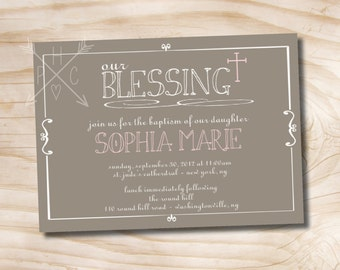 OUR BLESSING Custom Baptism Invitation / Christening Invitation / Communion Invitation - Printable digital file or printed invitations