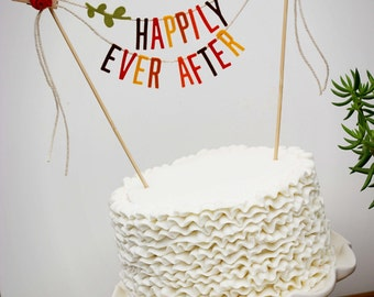 Wedding Cake Banner, Wedding Cake Topper, Happily Ever After Banner, Happily Ever After Topper, Happily Ever After Garland: Autumn Hues