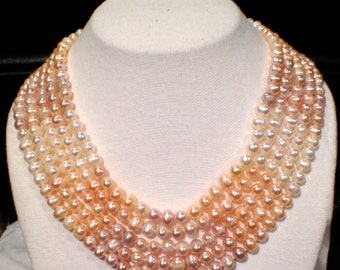 Vintage Wedding Pearl Necklace  Genuine Cultured Pearls Bridal Jewelry
