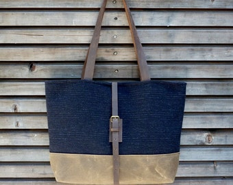 Wool tote bag with waxed leather handles and waxed canvas bottem UNISEX