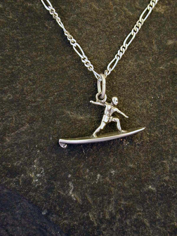 Sterling Silver  Surfer Pendant on Sterling Silver Chain.