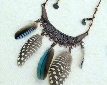 Feather indie necklace - half moon copper - beaded necklace hippie boho blue jay feathers tagt team