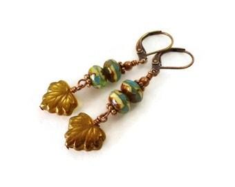 Czech Glass Leaf Earrings, Turquoise Glass Earrings,, Dangle Earrings