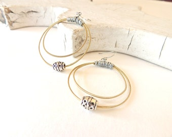 Guitar String Earrings - gold and silver hoop earrings - for teens and adults - recycled/eco-friendly/upcycled jewelry - under 25.00