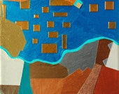 By the Sea, mixed-media/acrylic on canvas, map art