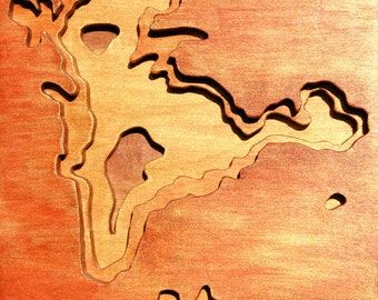 Flattops South, Petrified Forest, Acrylic on Birch Plywood, map art