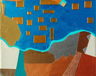 By the Sea, mixed-media/acrylic on canvas, map art