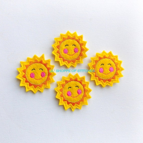 FELTIE Sunshine Felt Applique - Sun Felt Applique - Smiling Sunshine Embroidered Felt Stitches (Set of 4)