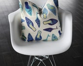 Blue Shoes Fabric Decorative Pillow Cover- 20x20""