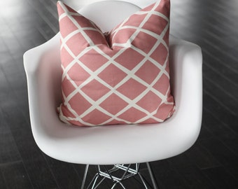 "Lattice- Diamond Rose Pink- Decorative Pillow Cover 12x18"" Lumbar"