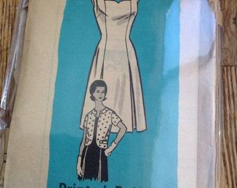 "Vintage 60s Anne Adams 9007 Sweetheart Dress & Jacket Sewing Pattern 35"" Bust"