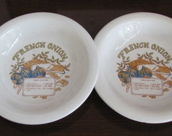 Vintage 70's French Onion Ceramic Bakeware Soup Bowls - pair - Korea - Serving - Entertaining - Dining - French Onion Soup Bowls