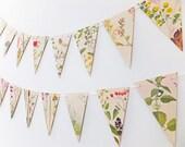 Flower Bunting, Victorian Garland, Recycled Paper Garland, eco-friendly banner - wedding decor - Wedding Pennants