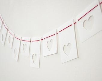 Mini Heart Bunting, Hearts Garland, mini Valentine's banner, Love bunting, white bunting, paper bunting