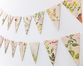 Flower Bunting, Victorian Garland, Recycled Paper Garland, eco-friendly banner - wedding decor - Wedding Pennants