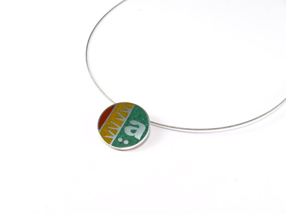 Initial Pendant, Sterling Silver, Personalized, Customizable, Modern, Contemporary, Color, Necklace
