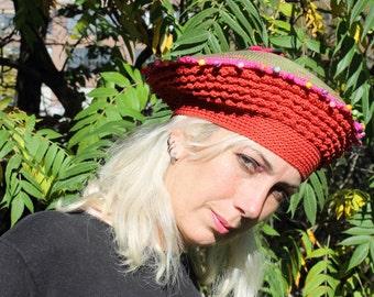 Mega Colourful Rust & Pink Crochet Hat with a Little Felt Flower...