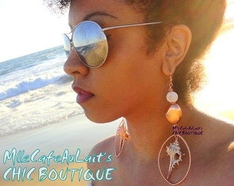 Rose Gold Plated Real Sea Shell Chandelier Beach Earrings - SIRENS SONG