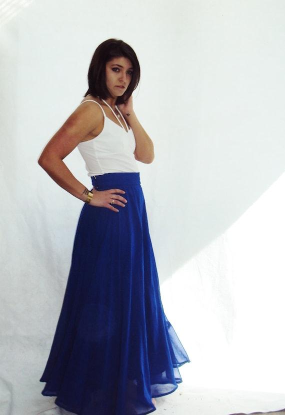 vintage silk chiffon maxi skirt royal blue by