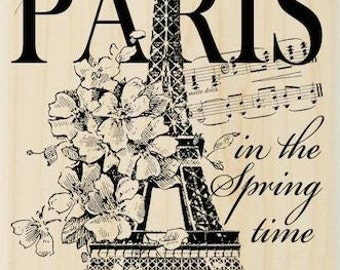 I LOVE PARIS - Rubber Stamp - Stampendous Paris France in the Spring Eiffel Tower wood mounted rubber stamp - Paris Rubber Stamp