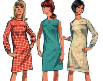 """Easy Dress Sewing Pattern 60s Beginner Dress with Yoke Simplicity 7177 Size 9 Bust 32.5"""" (83 cm)"""