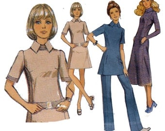 "Mod Dress or Tunic with Flared Pants Sewing Pattern Trousers Optional Belt Women's Size 12 Bust 34"" (87 cm) Style 2899"
