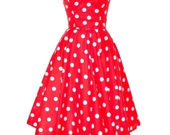 Clerance Sale Red Polka Dot Rockabilly Swing Dress