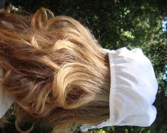 Vintage White Cotton Eyelet Lace Bonnet Victorian Headpiece Bonnet Victorian Costume Cotton Lace Antique Photo Prompt 127
