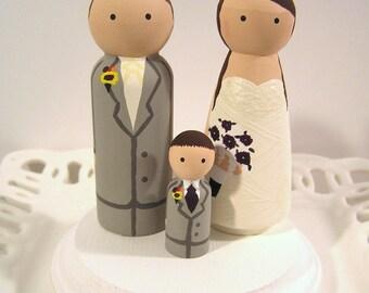 Cake Cuties- Custom Wedding Cake Toppers LARGE SIZE Plus 1 Kid Cutie