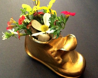 IT'S A Boy !! Perfect New Born, Baby Shower, Housewarming Gift / Vintage Baby Shoe Mold c.1950's Add a Bouquet, House Plant or Candies.